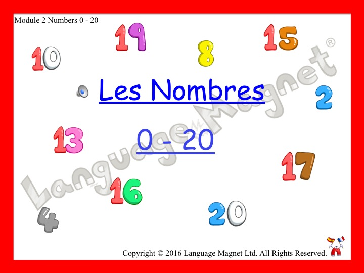 French Numbers 0 to 20