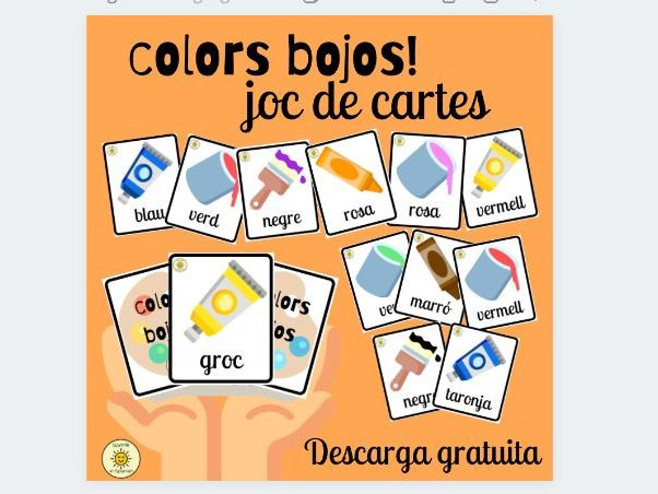 Els colors bojos. Crazy colours. Catalan card game to practise colours vocabulary