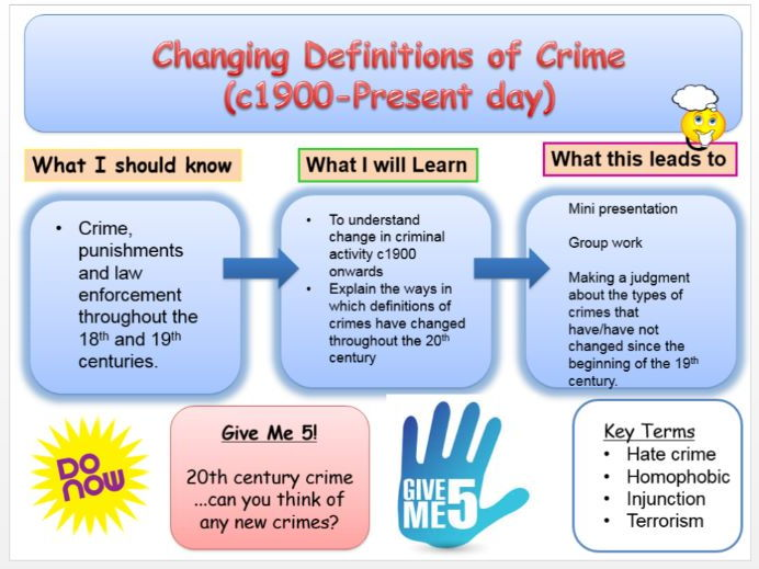 Crime and Punishment Edexcel Changing definitions of crime 20th Century