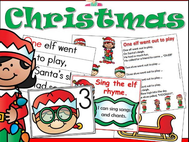 Christmas Literacy Rhyme and Resources Preschool and PreK Activity