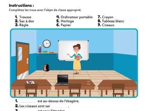 La Salle de Classe - Vocab Gap Fill