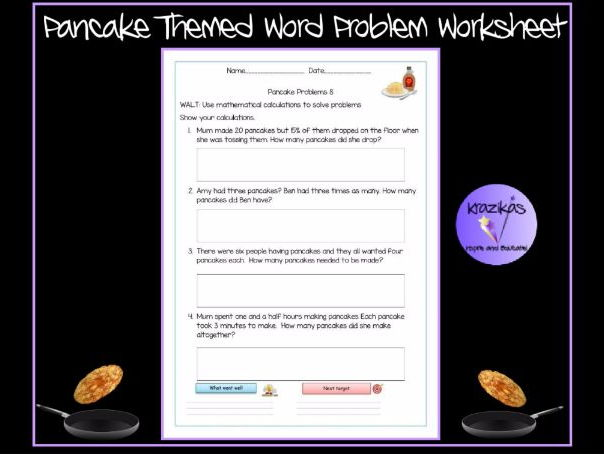 Math Plotting Points Worksheets Pdf Pancake Themed Word Problem Worksheet By Krazikas  Teaching  Two Times Tables Worksheets Pdf with Combining Like Terms With Exponents Worksheet Excel Pancake Themed Word Problem Worksheet By Krazikas  Teaching Resources  Tes Past Tense Worksheet Excel