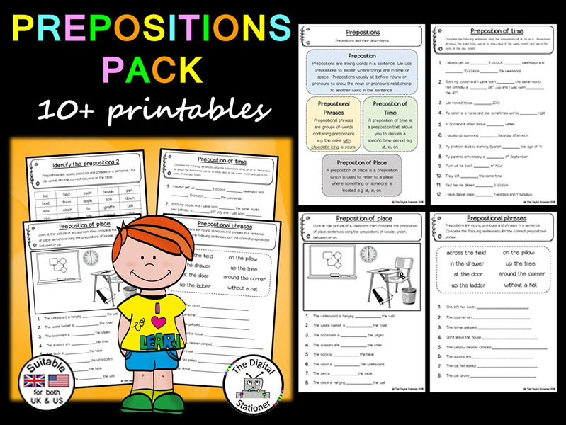 Prepositions Pack (Parts of Speech) (Suitable for both UK/US) 10+ printables