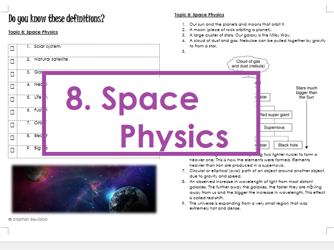 AQA GCSE 9-1 Physics: REVISE YOUR DEFINITIONS! Topic 8: Space Physics