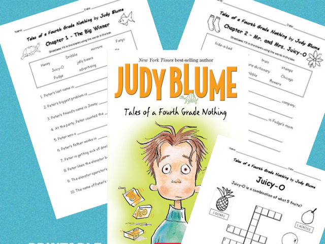 Tales of a Fourth Grade Nothing by Judy Blume - Printable worksheets for every chapter