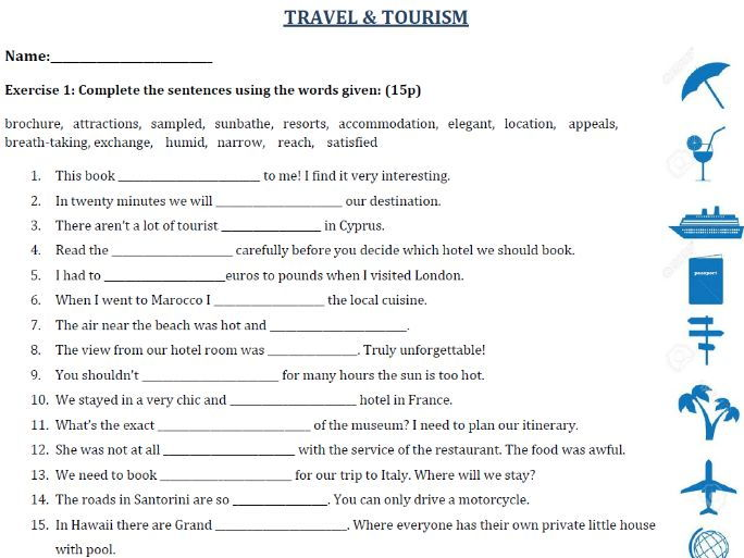 Travel and Tourism - Vocabulary Exercises / Test / Derivatives