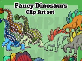 Fancy Dinosaurs Clip Art Set