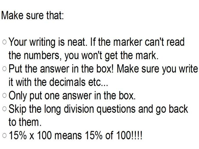 Arithmetic KS2 Year 6 SATs -  Morning of SATs last minute Tips maths