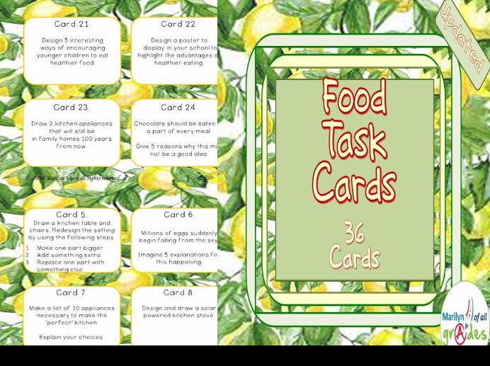 Food Task Cards X 36