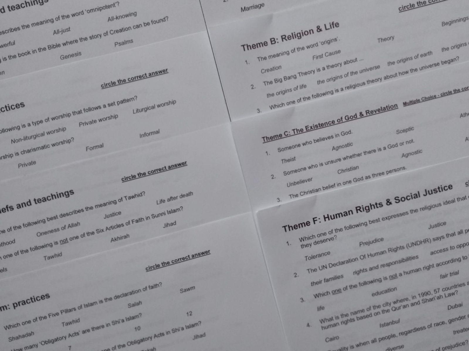 Religions & Themes bundle for AQA GCSE Religious Studies Paper 1 & 2A