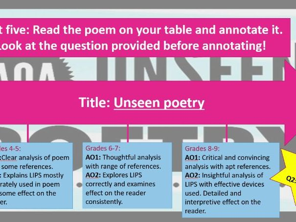 AQA Unseen poetry focused on grief and loss - higher ability