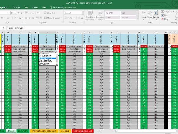 AQA GCSE PE Interactive Data Tracking Assessment Spreadsheet