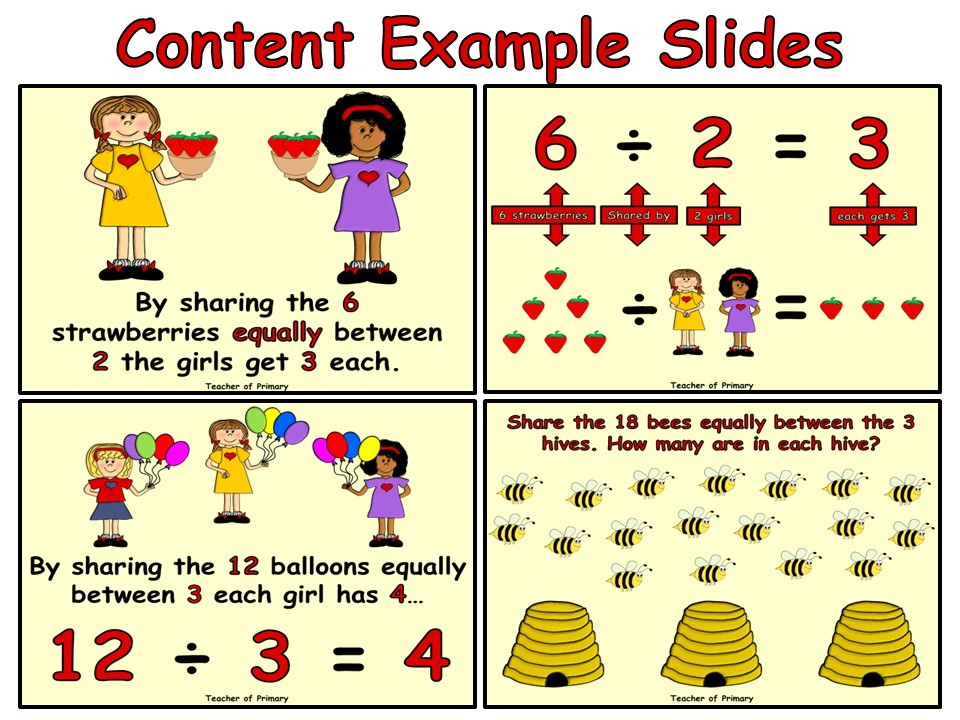 Dividing by Sharing - PowerPoint presentation and worksheets