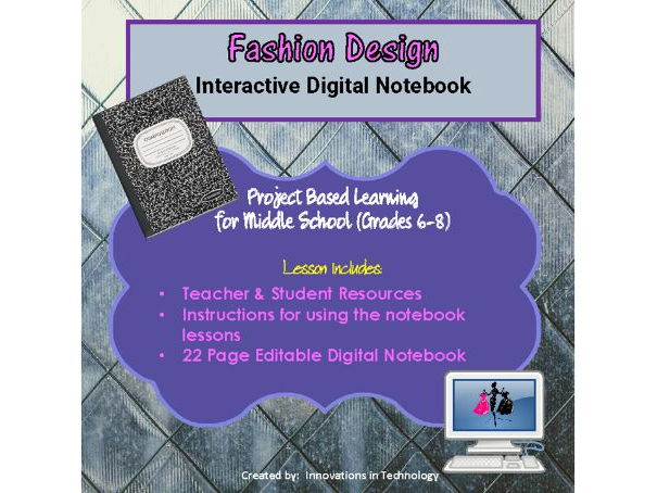 Digital Interactive Fashion Design Notebook (Editable)