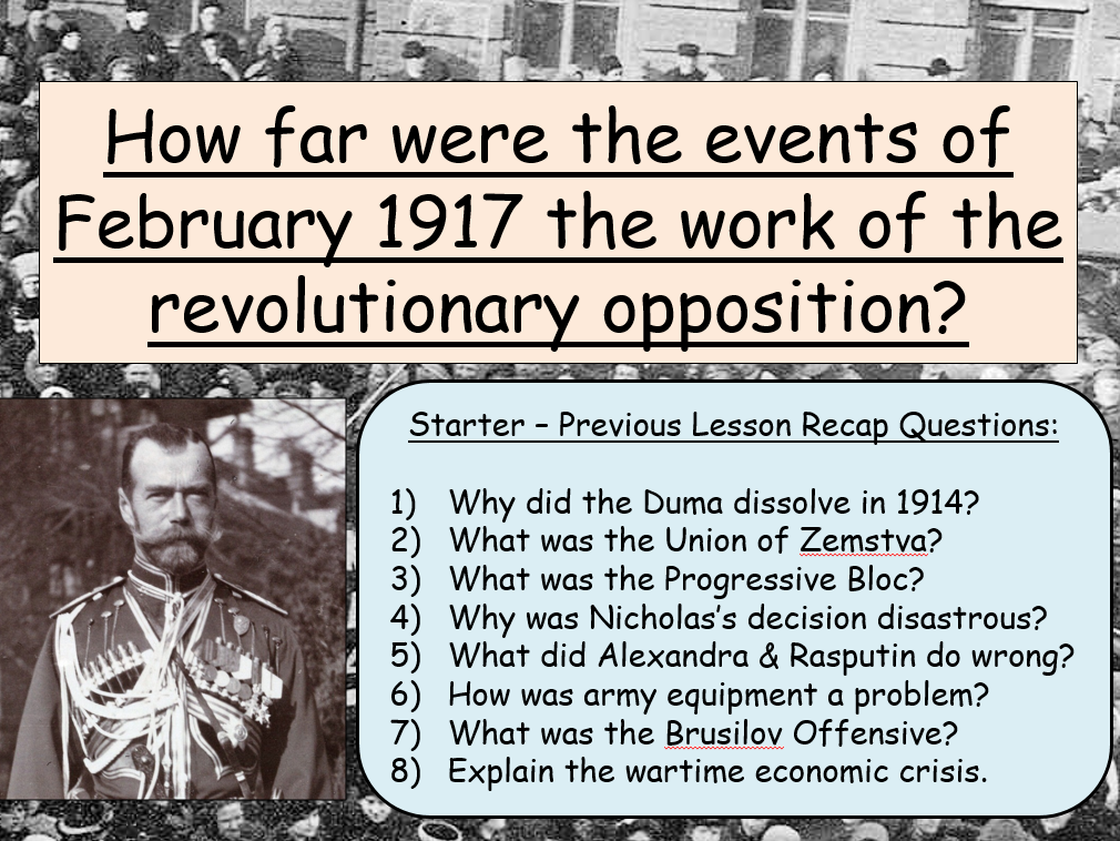 AQA A-Level Tsarist & Communist Russia Lessons 41-53 (end of Year 12)