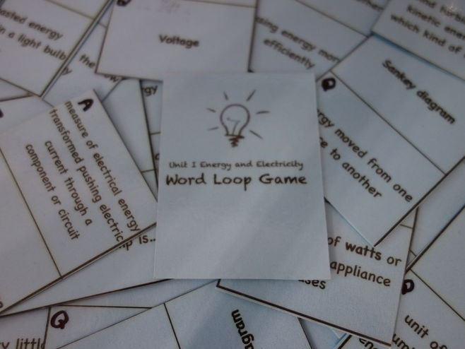 Energy and Electricity word loop game