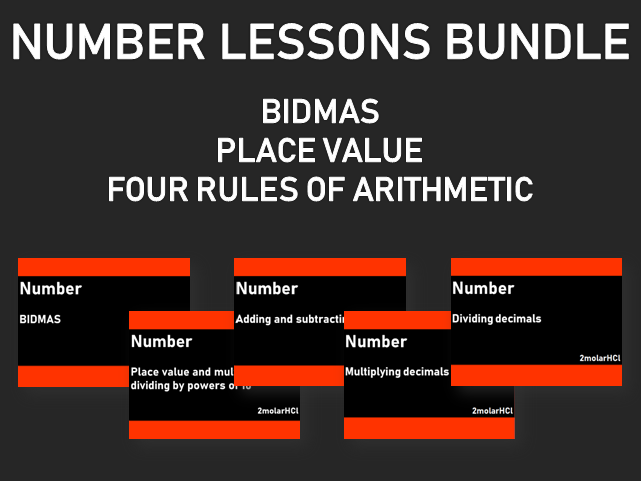 Number lessons bundle (BIDMAS, place value and the 4 rules of arithmetic with decimals)