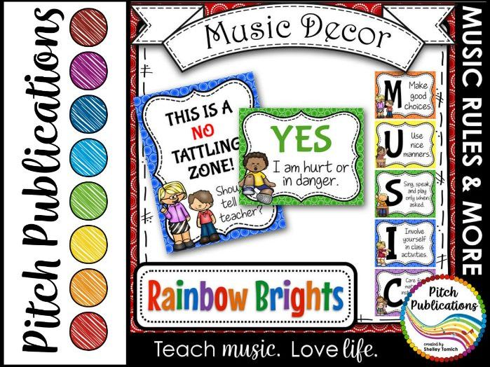 Music Decor - RAINBOW BRIGHTS - Music Rules Posters, Tattling, and more!