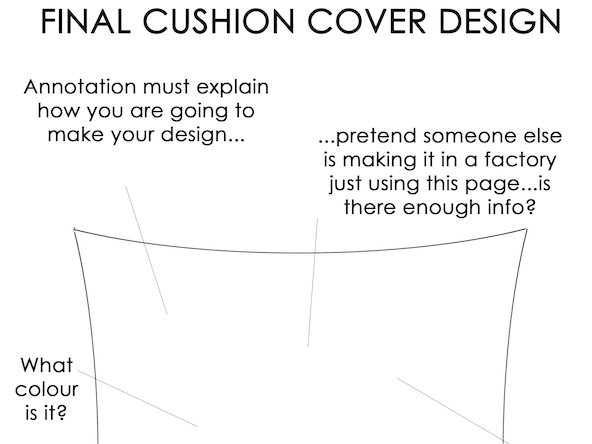 Final Cushion Design Template With Annotation Guide KS3 Textiles Handout