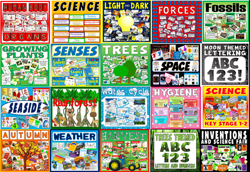 *BUNDLE*  SCIENCE RESOURCES X 20 - BODY BIOLOGY , PLANTS, FOSSILS, FORCES, WEATHER ETC