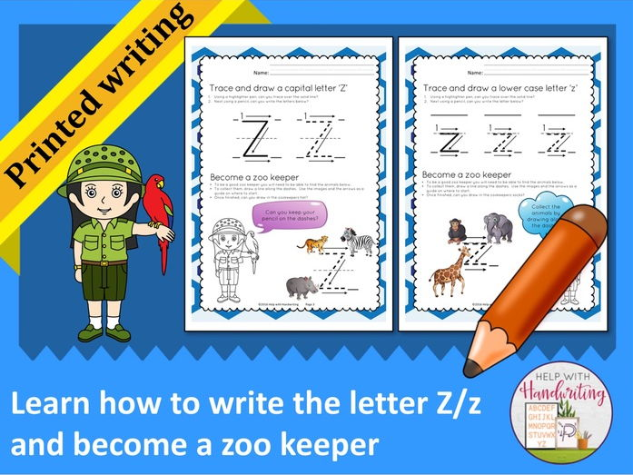 Learn how to write the letter Z (Printed style) and become a zoo keeper