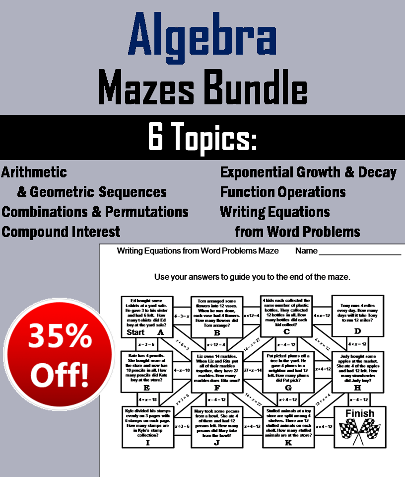 Algebra Mazes Bundle