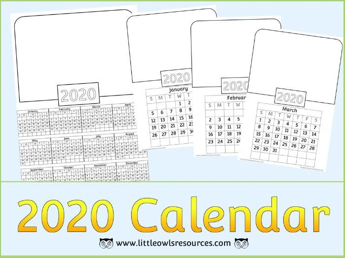 2020 Calendar Templates - Whole Year Overview & Individual Month by Month pages