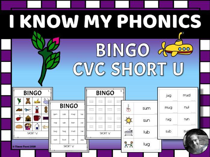 Short 'u' CVC Bingo -- 4x4 Grid