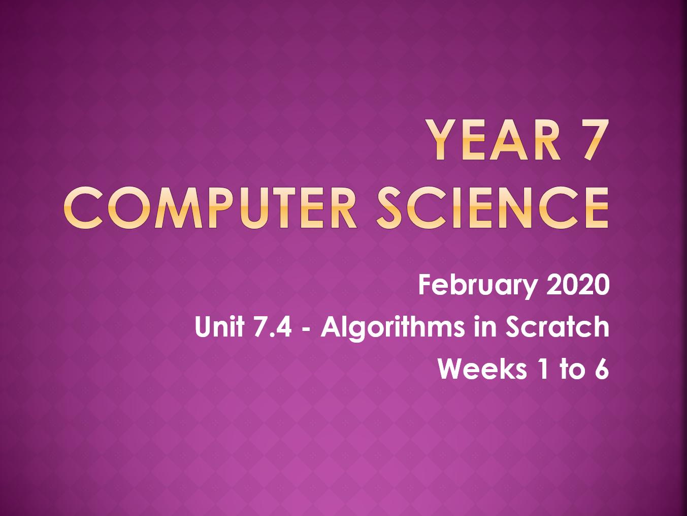 Complete Computer Science KS3 SOW: Algorithms in Scratch