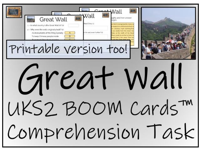 Great Wall of China - UKS2 BOOM Cards™ Comprehension Activity