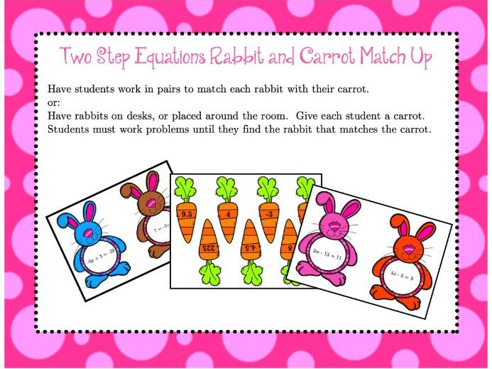 Two-Step Equations Rabbit & Carrot Match-up