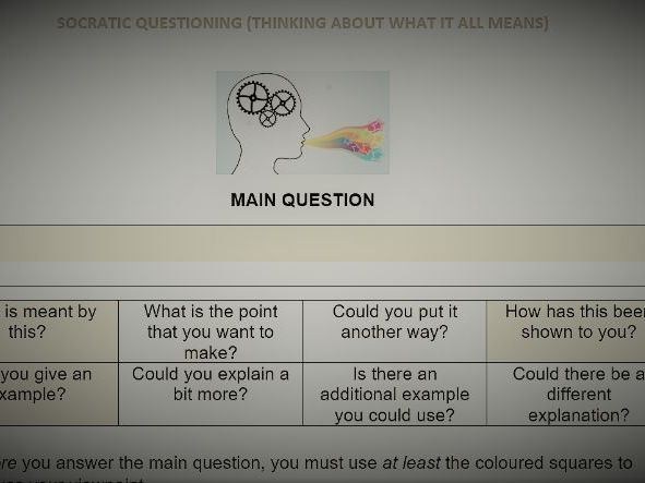 Socratic Questioning Grid (Differentiated)