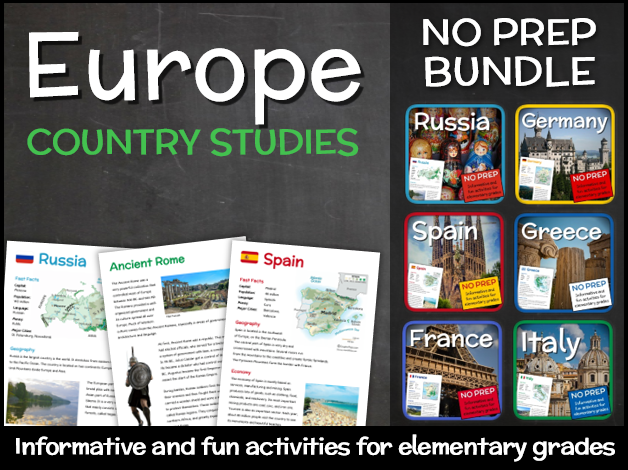 Country Studies Bundle for Elementary Grades (European countries)