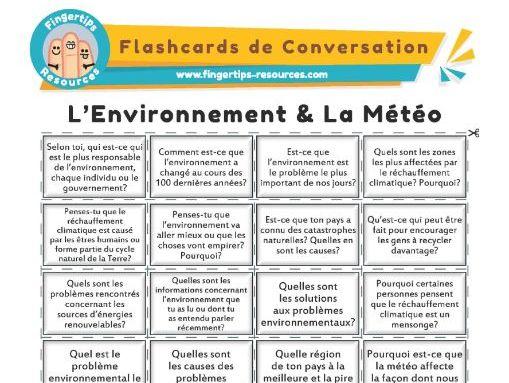 L'Environnement & La Météo - French Conversation Flashcards