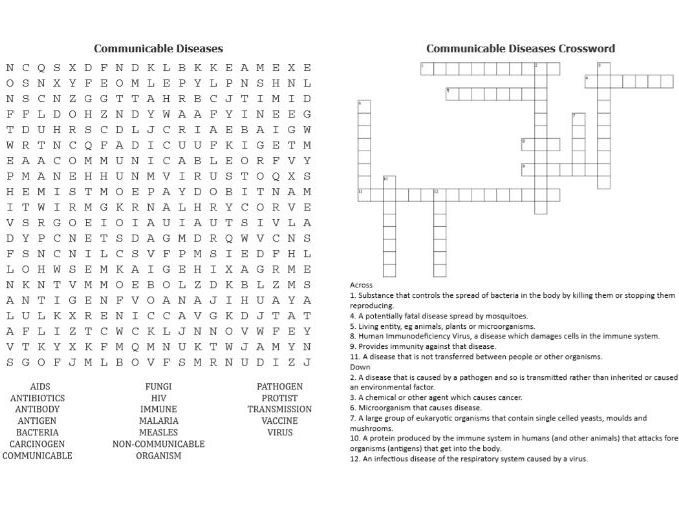 Communicable Diseases WordSearch and Crossword