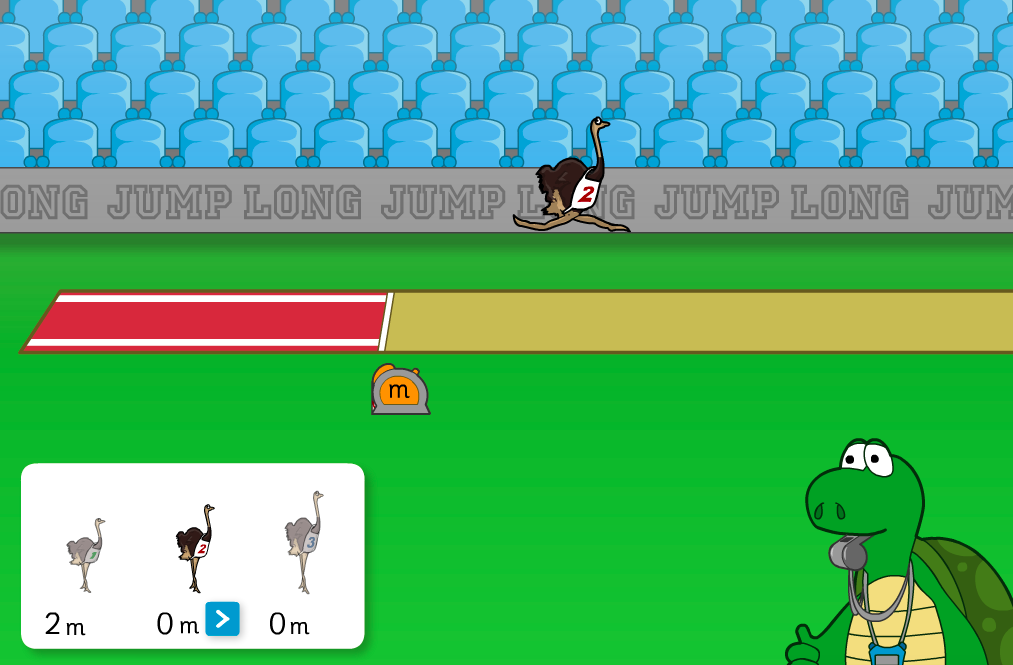 Ostrich Long Jump Interactive Game - KS2 Measurement