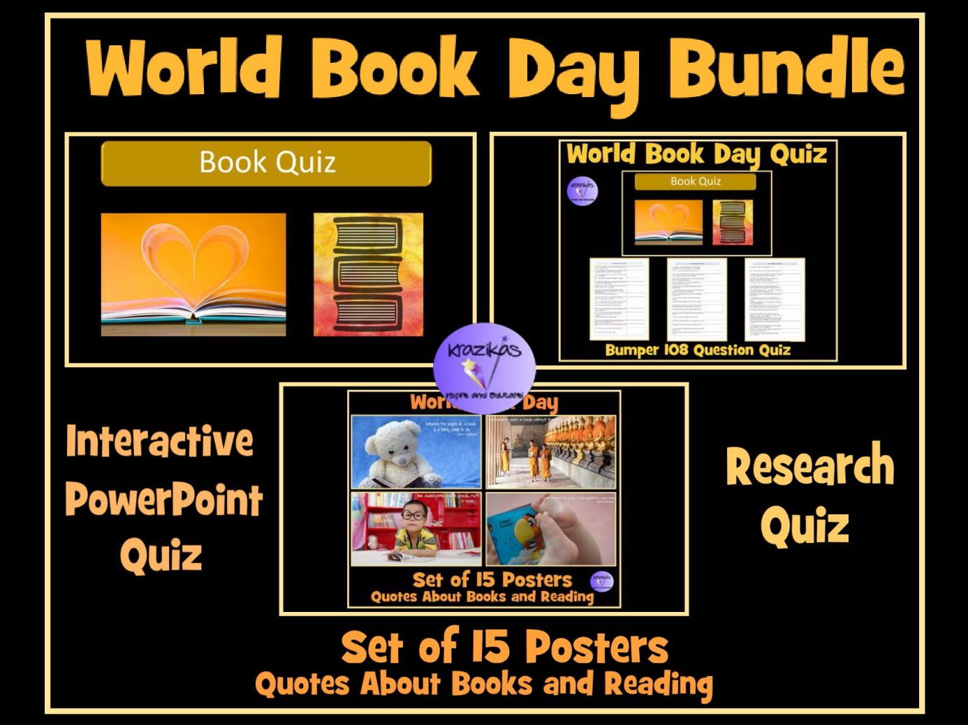 World Book Day Bundle - Bumper 100 Question Interactive PowerPoint Quiz, 108 Question Research Quiz and Set of 15 Book Quote Posters