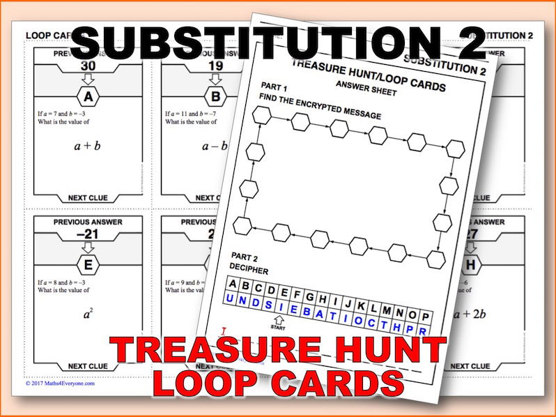 Substitution, Positives and Negatives (Treasure Hunt)