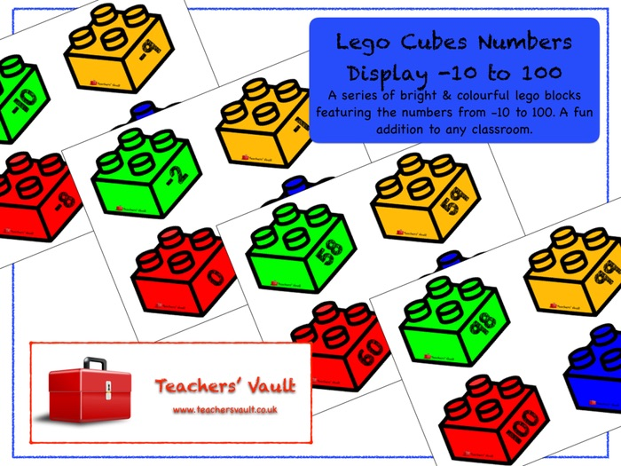 Lego Cubes Numbers Display -10 to 100