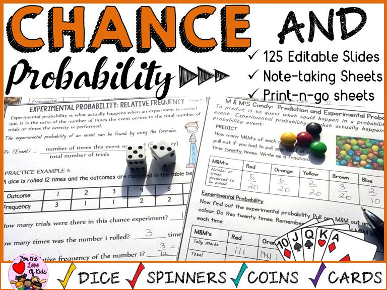 CHANCE AND PROBABILITY: NO PREP PRINT-N-GO SHEETS: 125 EDITABLE SLIDES: GUIDED NOTES