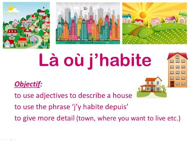LA OU J'HABITE year 8 French (types of houses, areas, room in the house and adjective agreement)