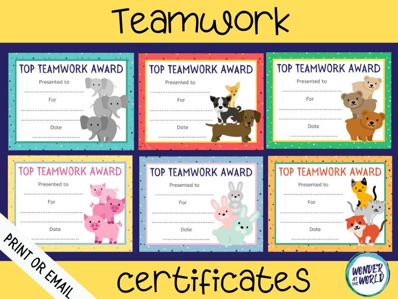 Teamwork reward certificates to print or use online