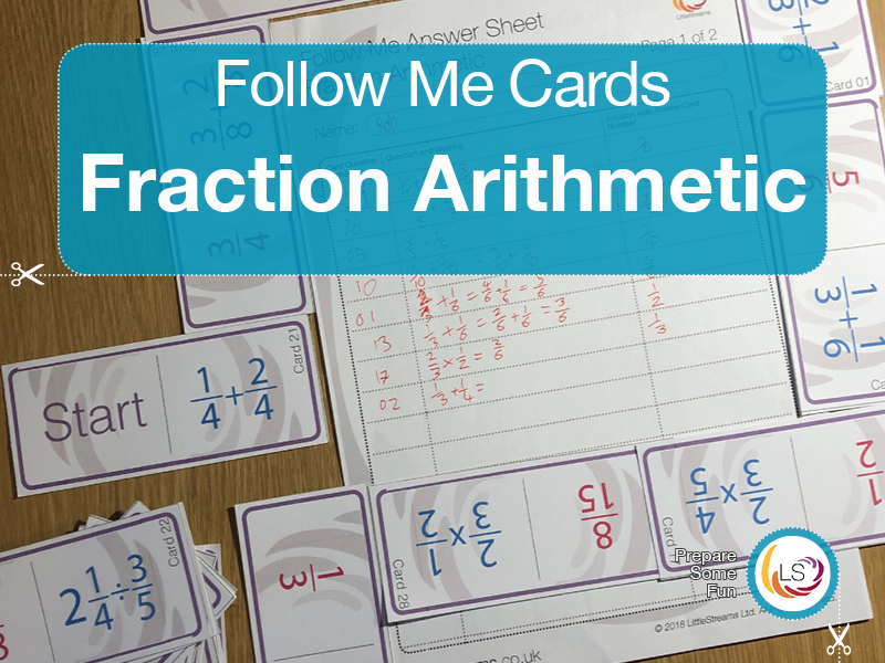 Fractions Arithmetic | Follow Me Cards