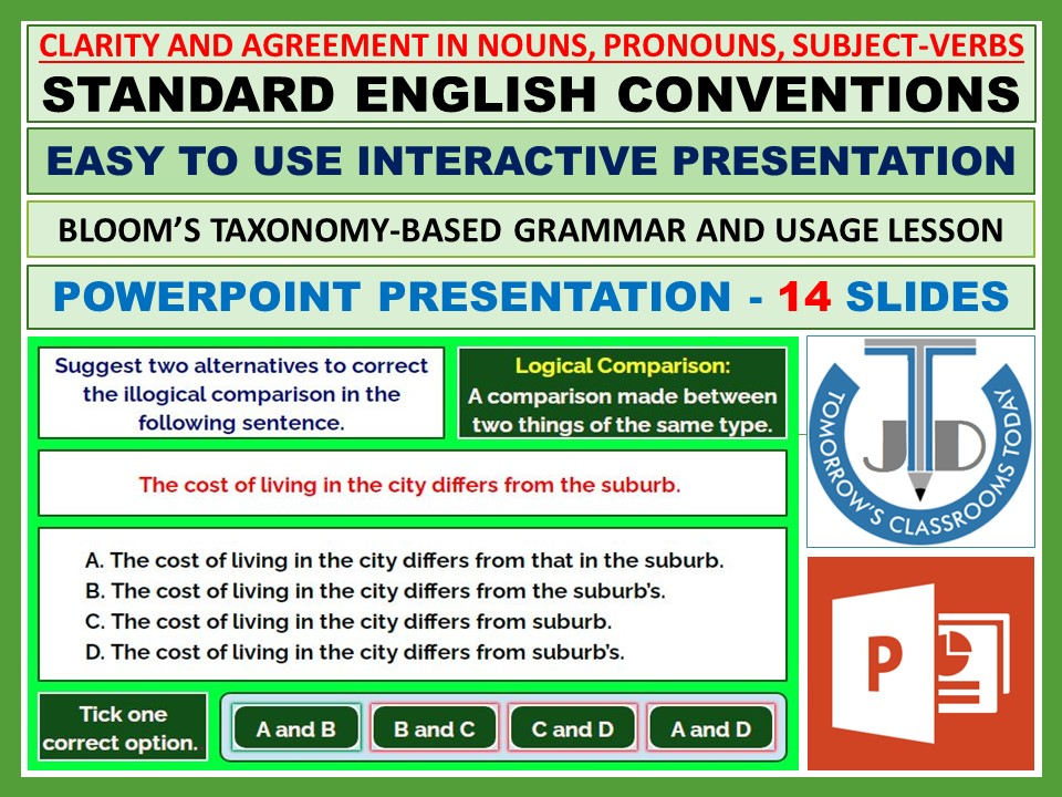 CLARITY AND AGREEMENT IN NOUNS, PRONOUNS, SUBJECT-VERBS: POWERPOINT PRESENTATION