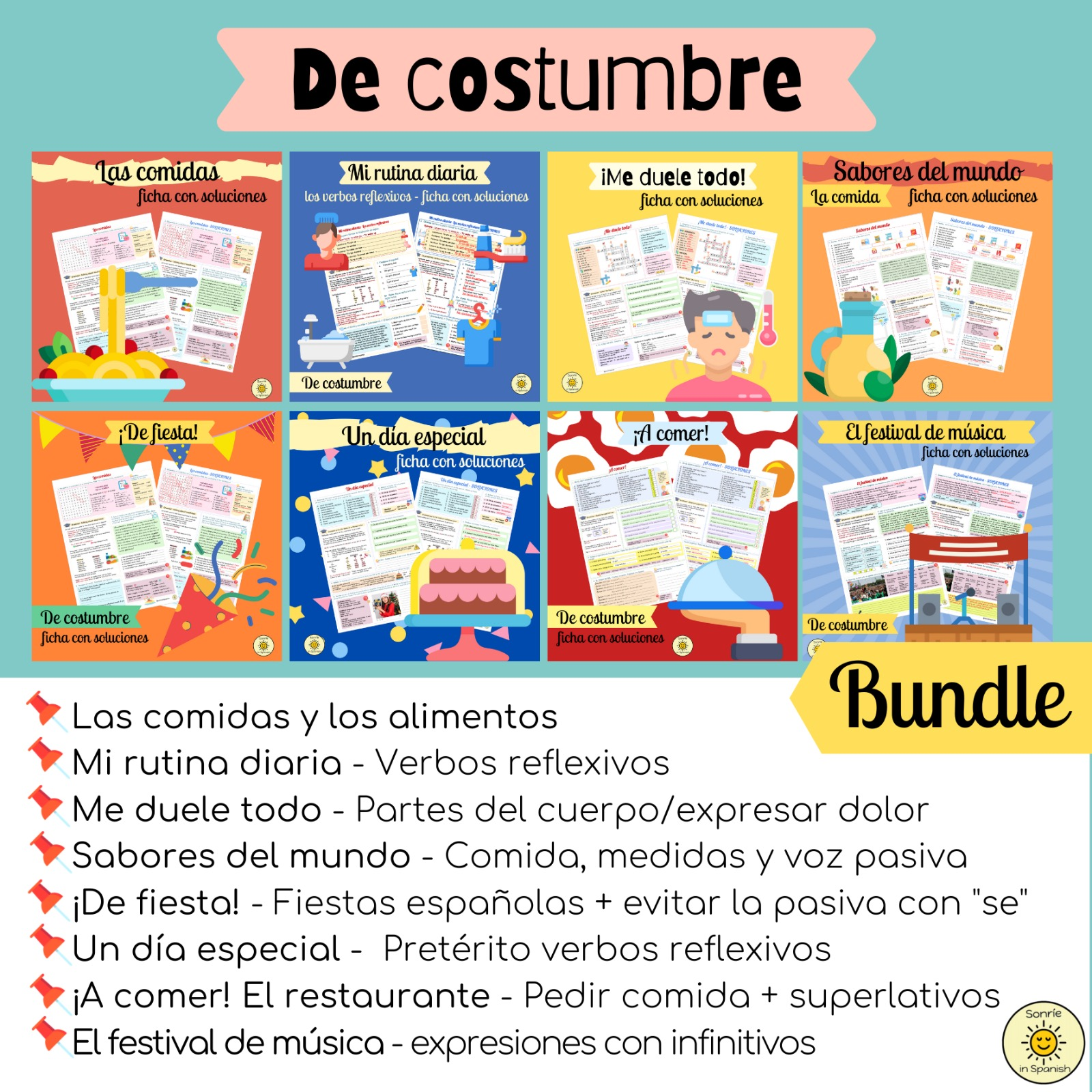 De costumbre. Festivales y comida. Viva GCSE Spanish bundle of 8 worksheets with answers. Pack de 8 fichas: rutinas y cultura