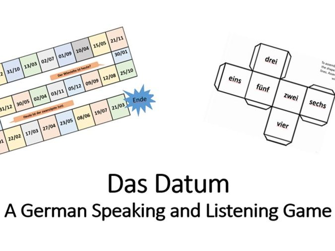 'Das Datum' German board game for speaking and listening