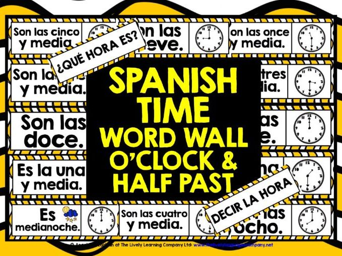 PRIMARY SPANISH TIME WORD WALL #1