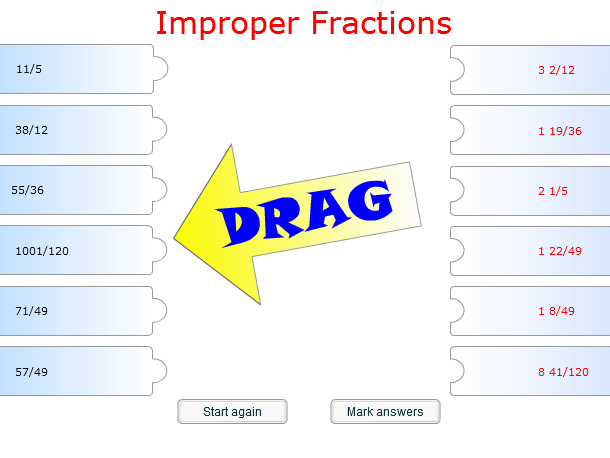 Starter/Plenary Game on Finding Improper Fractions.