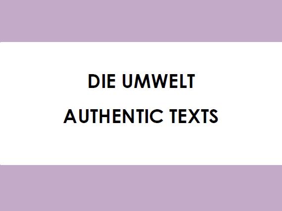Die Umwelt - Authentic Texts