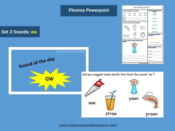 Phonics Powerpoint & Worksheet - aw sound